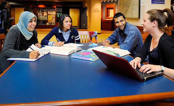 Undergraduates studying