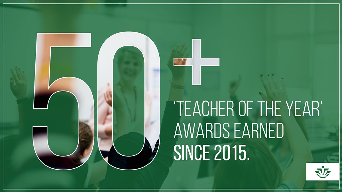 50+ Teacher of the Year awards earned since 2015