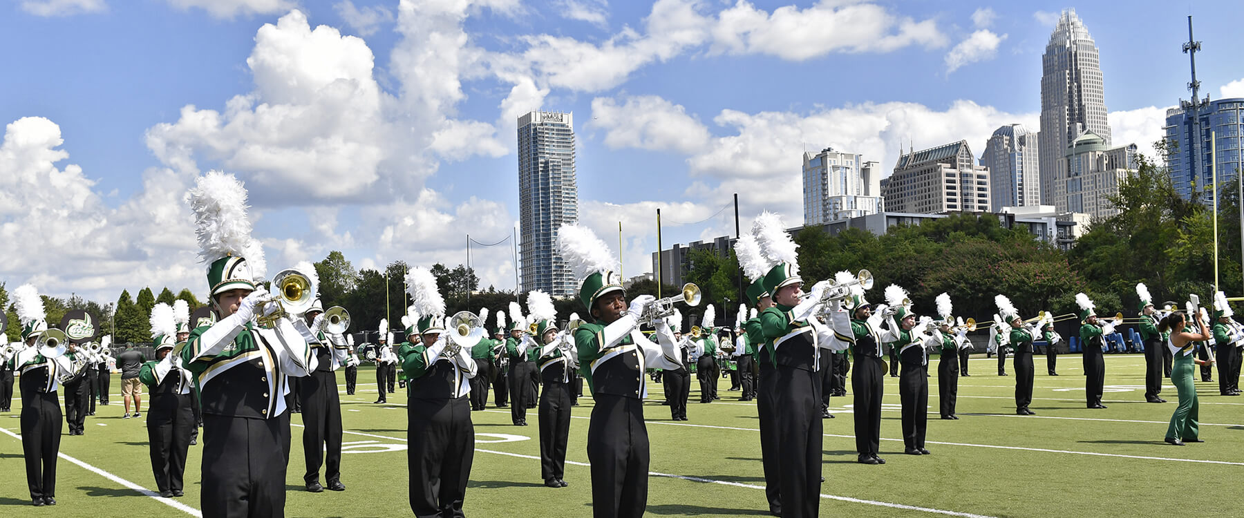 Marching band performs at Bank of America Stadium