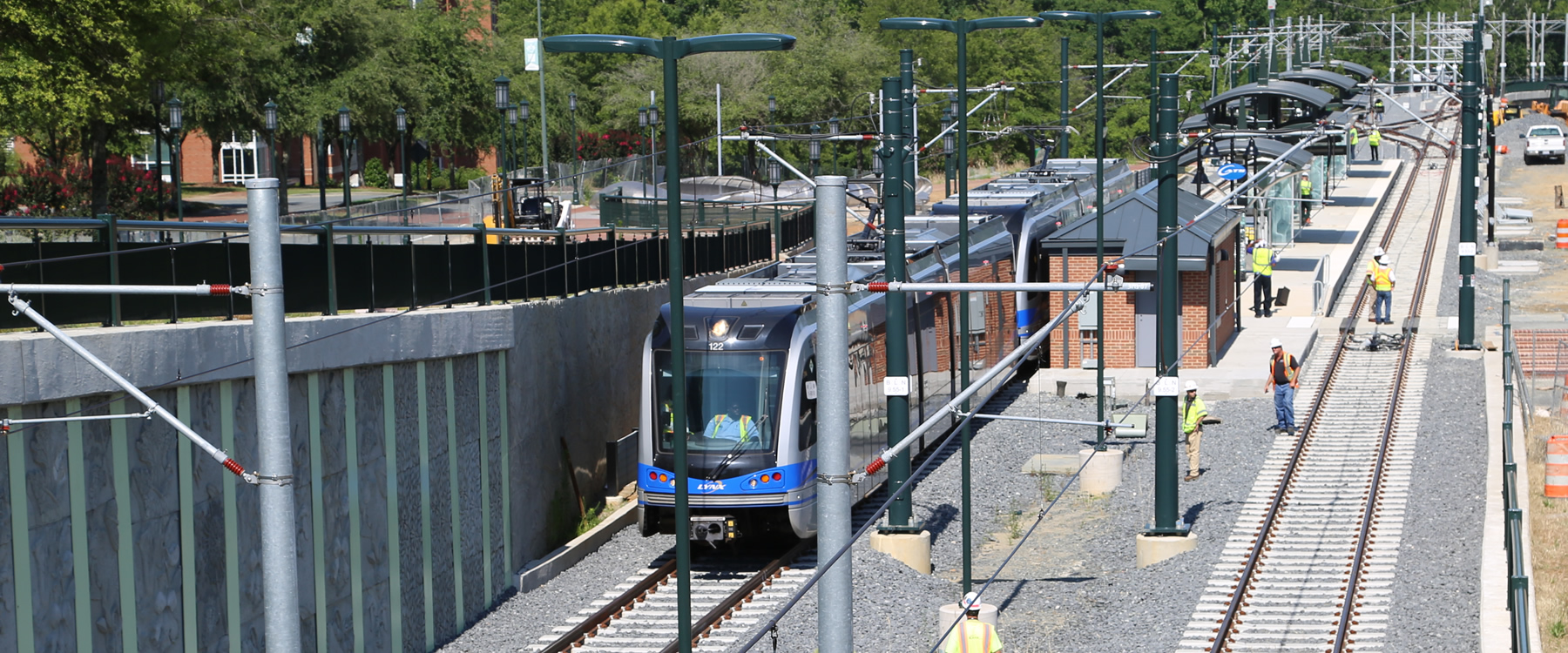 Light rail connects us - First train arrives on campus during testing
