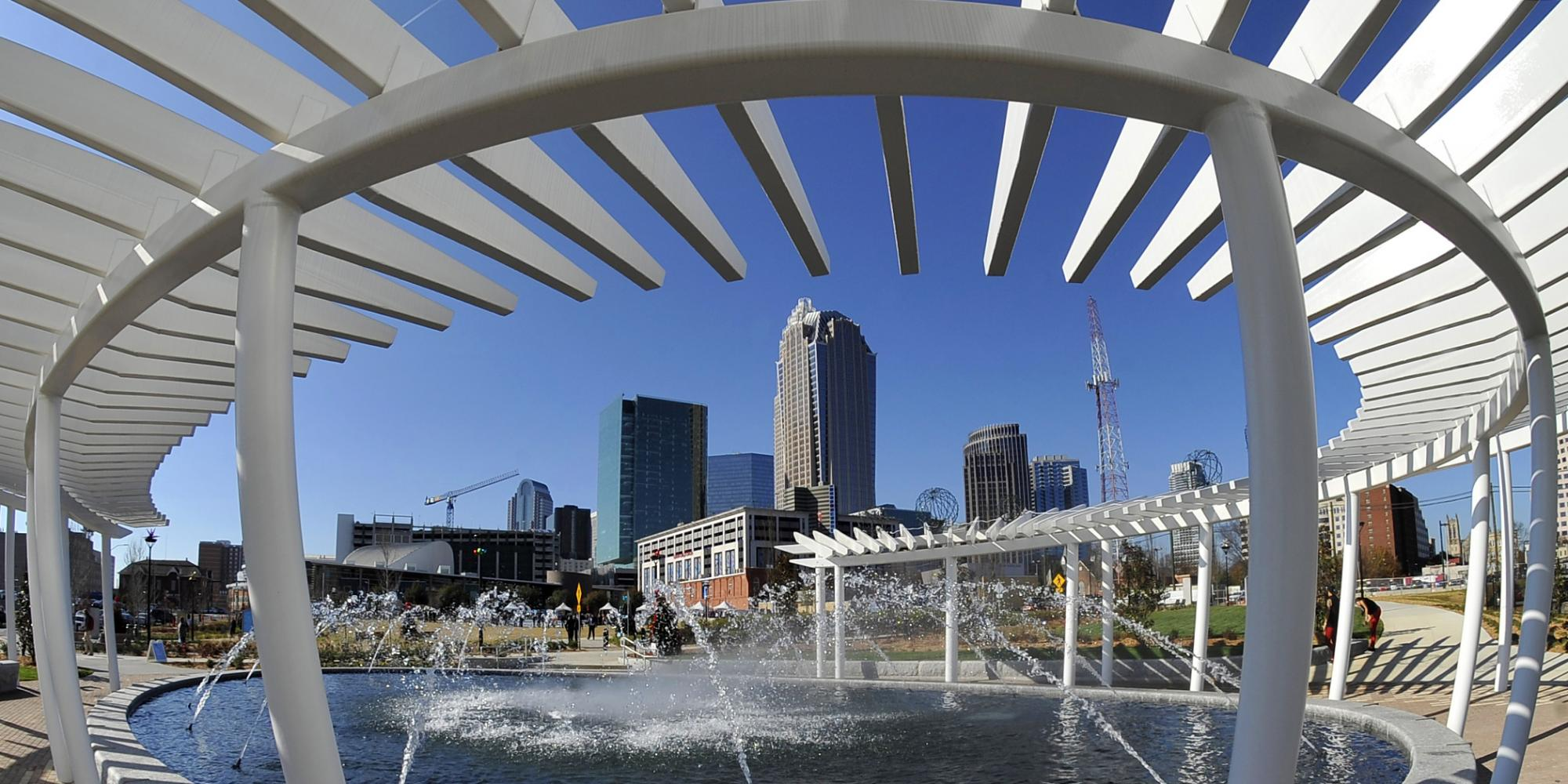 Uptown Charlotte from First Ward park