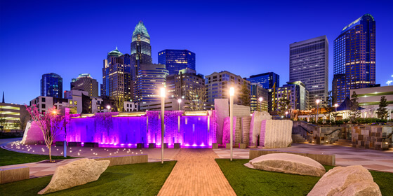 Romare Bearden Park and Charlotte skyline